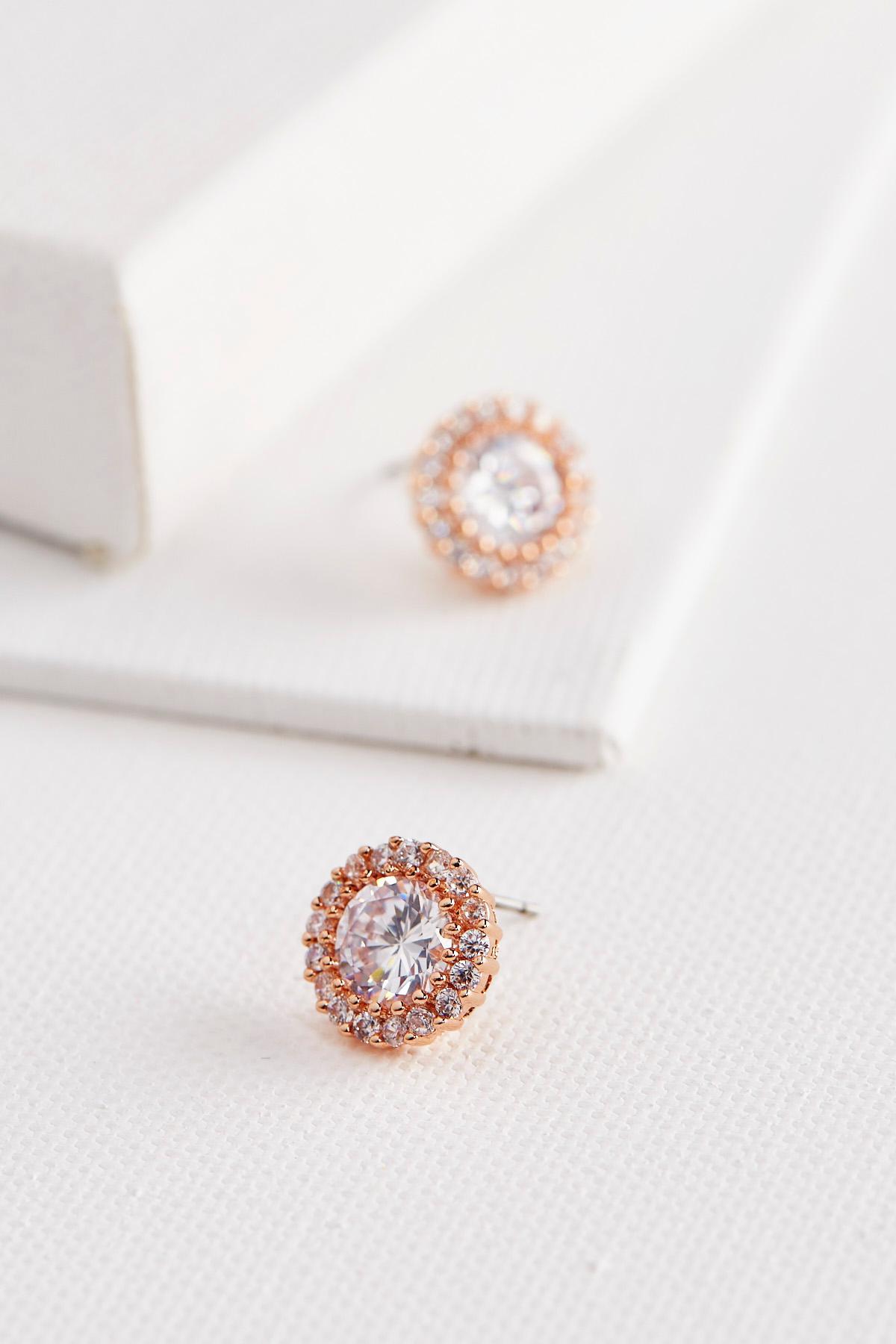 Haloed Stone Stud Earrings
