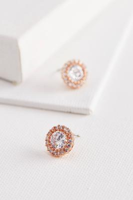 haloed stone stud earrings