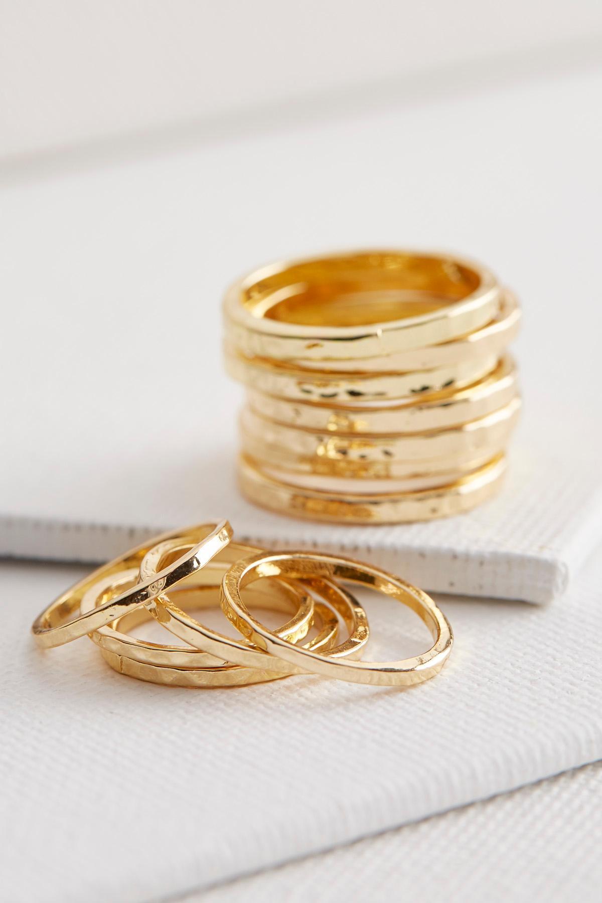 Hammered Metal Ring Set
