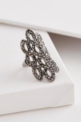 pave figure eight filigree ring