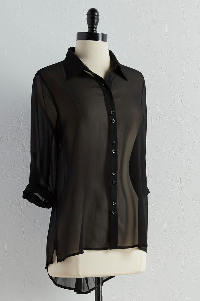 Pleat Back Button Down Top