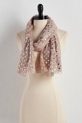 metallic polka dot oblong scarf