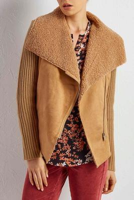 mixed media zip cardigan