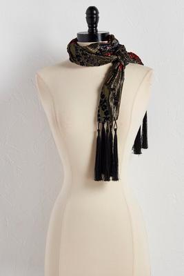 velvet flocked metallic skinny scarf