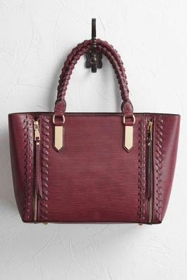 whipstitch double zipper tote