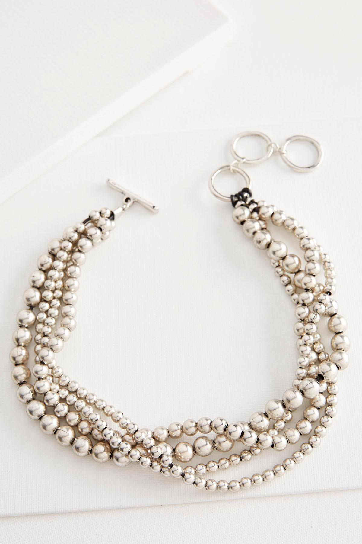 Layered Metal Bead Necklace