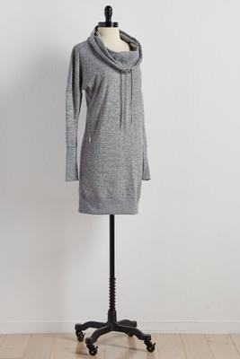 drawstring cowl neck lounge dress