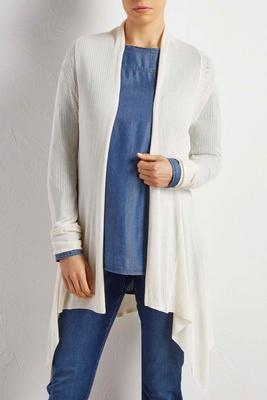 pointelle waterfall cardigan