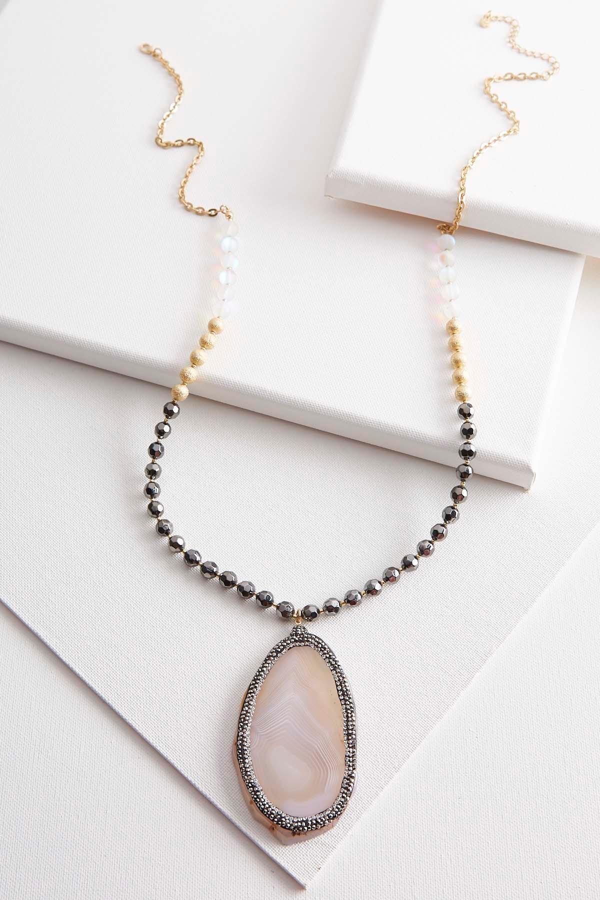 Semi- Precious Pendant Beaded Necklace