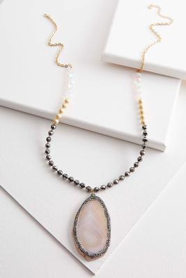 semi-precious pendant beaded necklace
