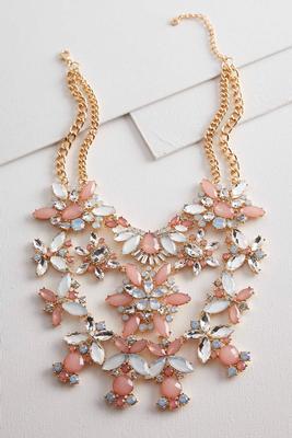 floral tiered statement bib necklace