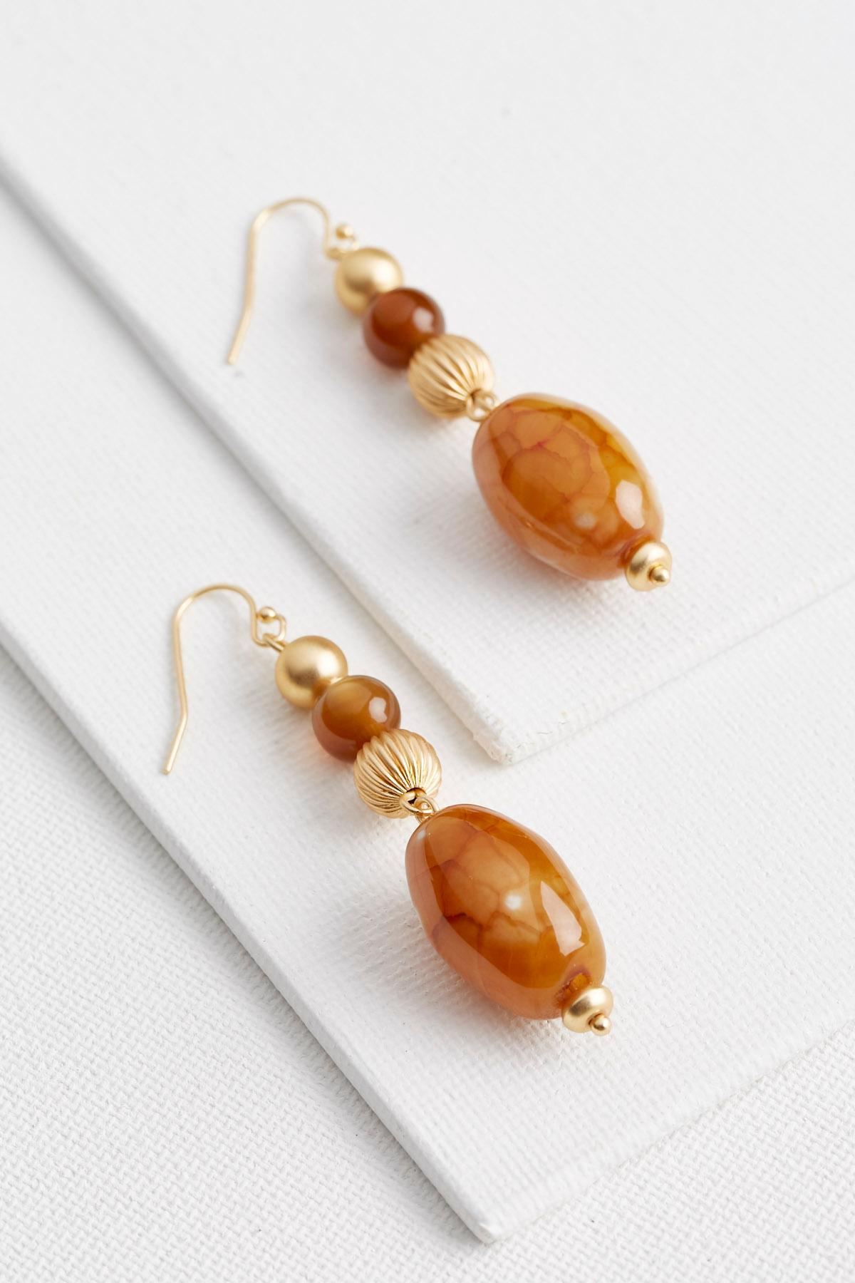 Semi- Precious Bead Dangle Earrings
