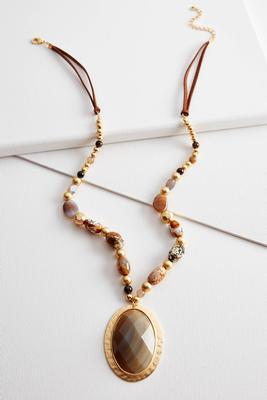 beaded semi-precious pendant necklace