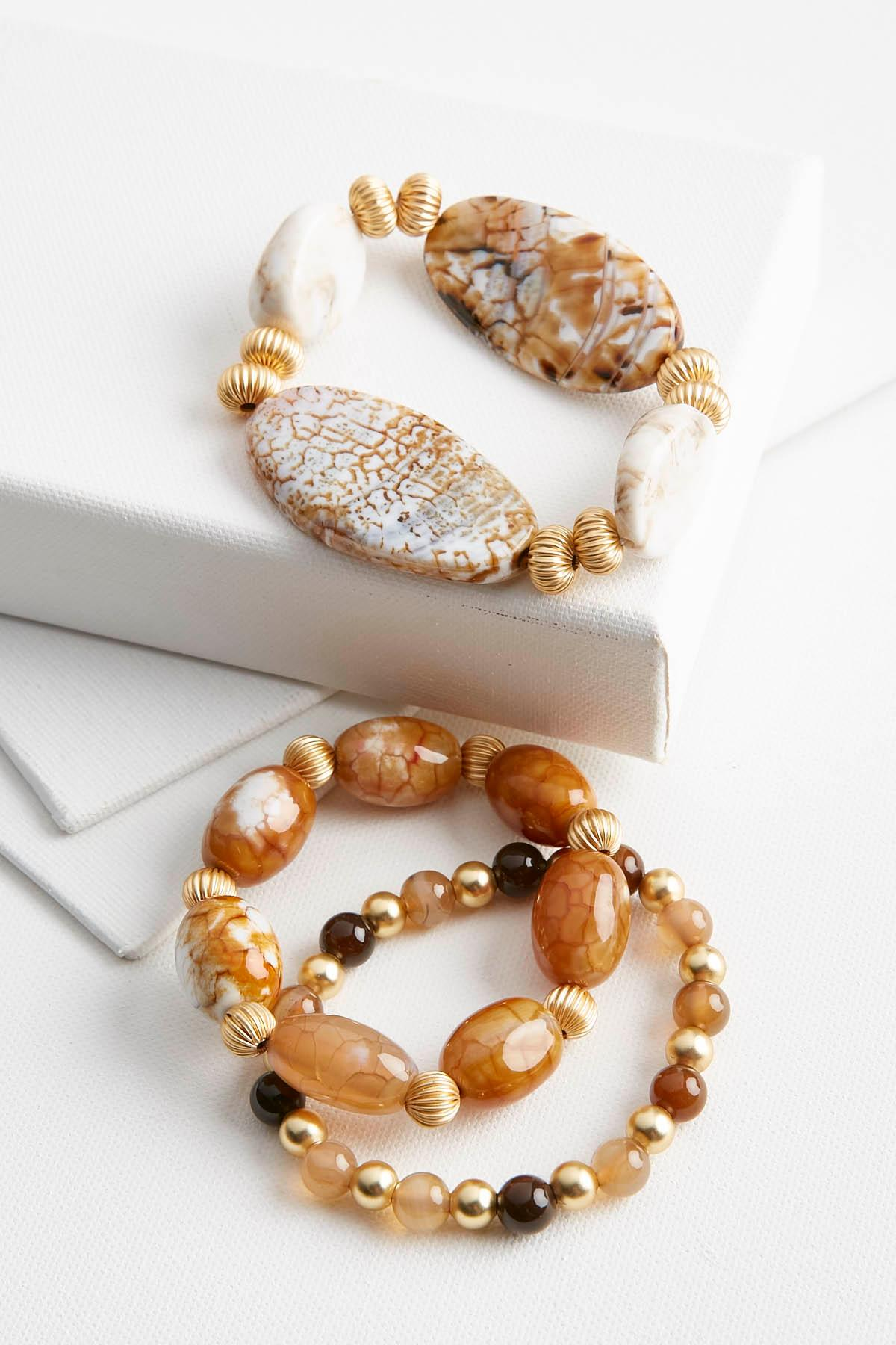 Semi- Precious Bead Stretch Bracelet Set