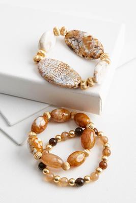 semi-precious bead stretch bracelet set