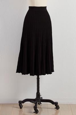 pleated sweater knit midi skirt