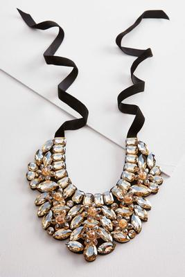 glass stone bib necklace