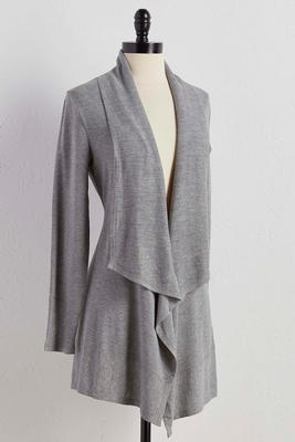 ribbed trim draped cardigan