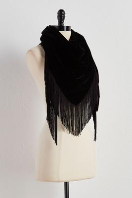 velvet fringe triangle scarf