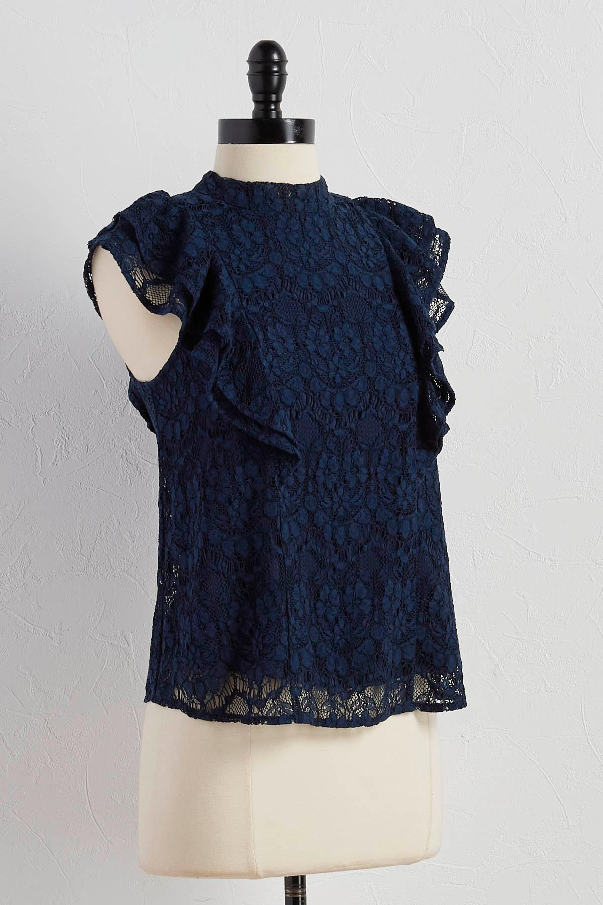 Ruffled Lace Mock Neck Top