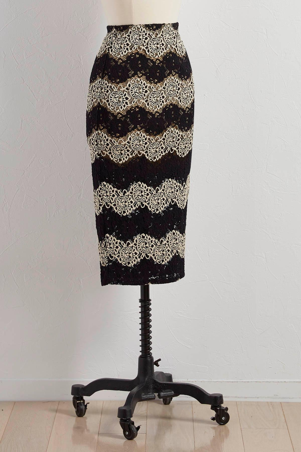 Two- Tone Lace Pencil Skirt