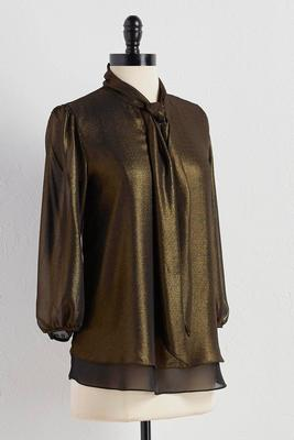 metallic tie neck layered top