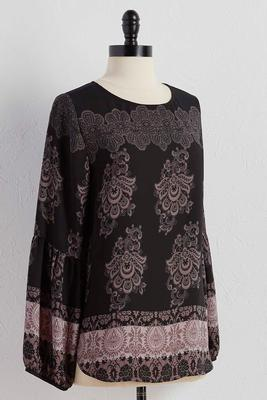 bordered scroll print top