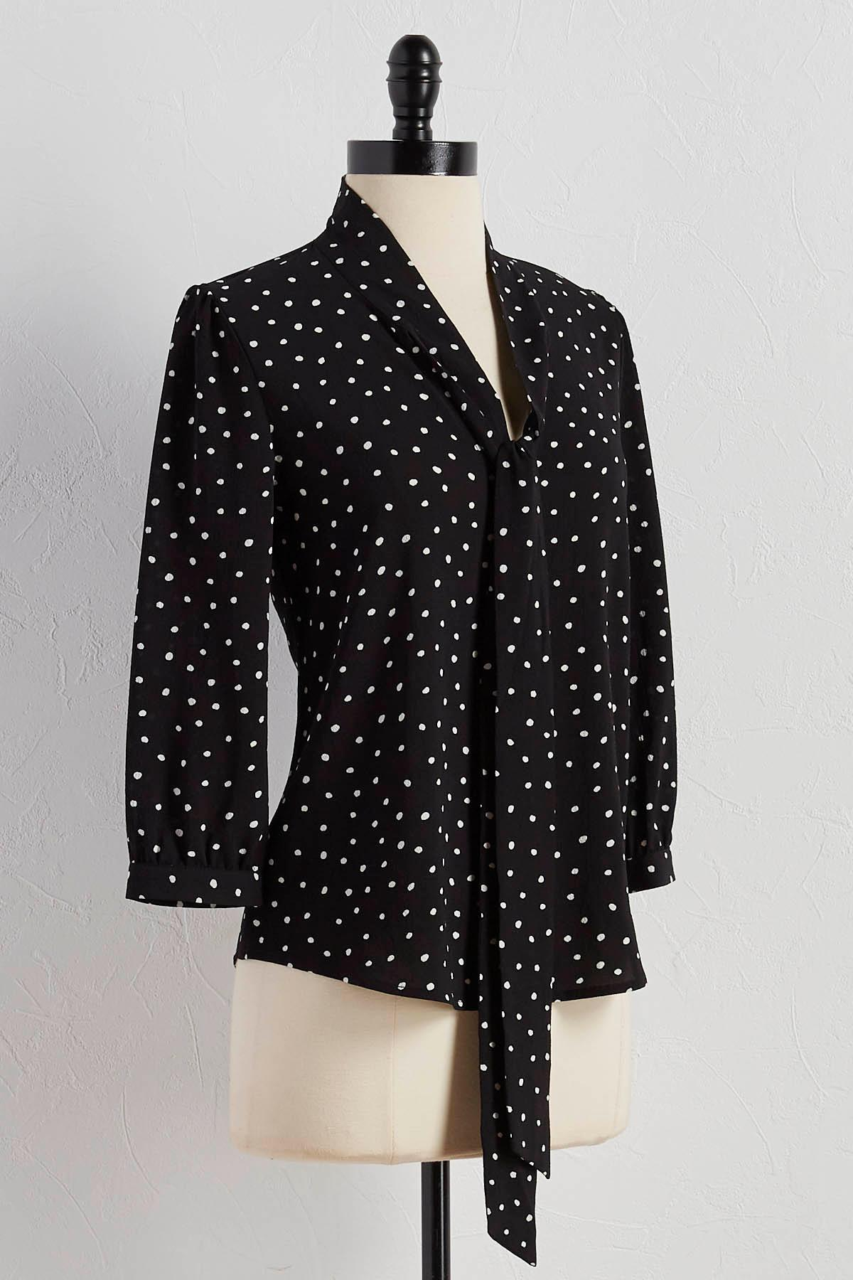 Polka Dot Tie Neck Top