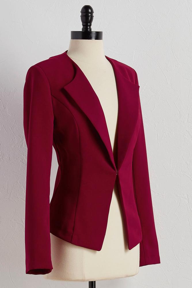 Collarless Textured Blazer