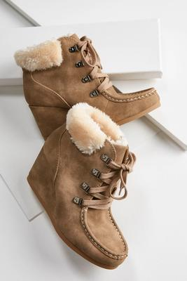 faux fur trim lace up wedges