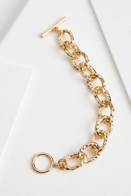 hammered metal chain bracelet