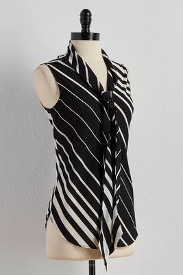 diagonal striped tie neck tank