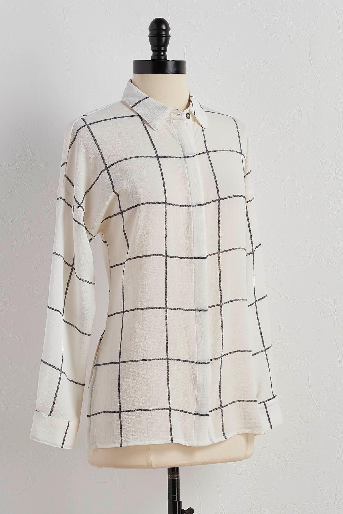 Windowpane Boyfriend Shirt