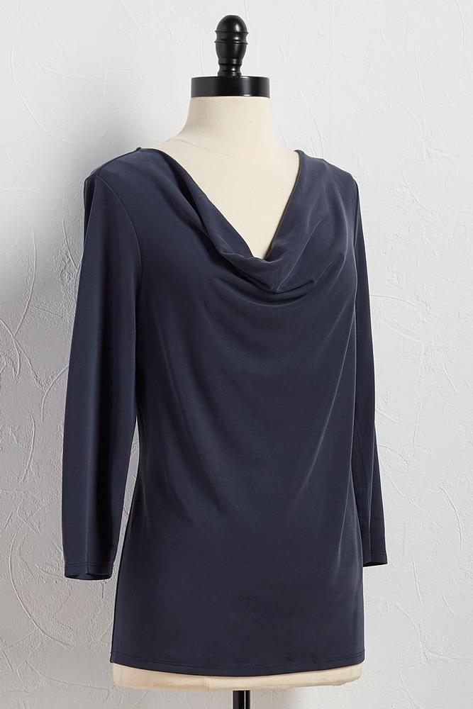 Draped Neck Silk Wash Top