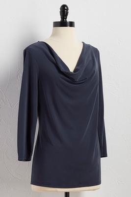 draped neck silk wash top