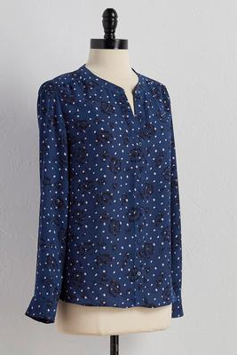 abstract floral polka dot equipment top
