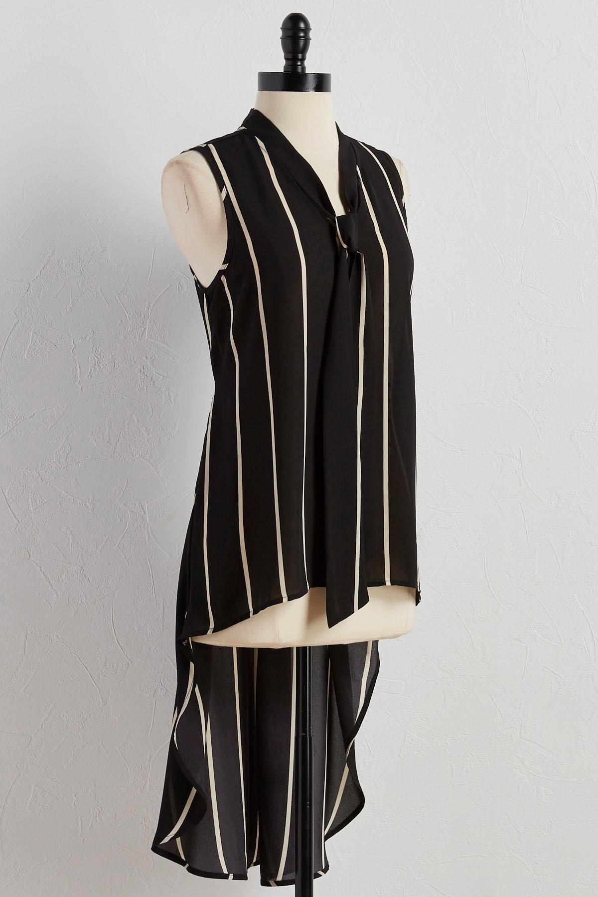 Striped Tie Neck High- Low Tunic