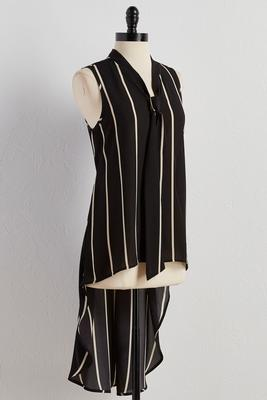 striped tie neck high-low tunic
