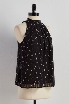 pleated feather print cleo tank