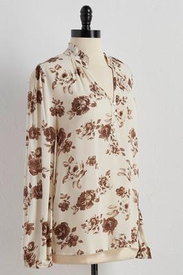 ruffled henley floral popover top