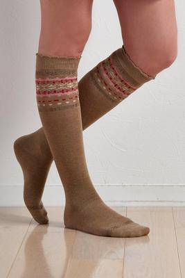 top bordered knee high socks