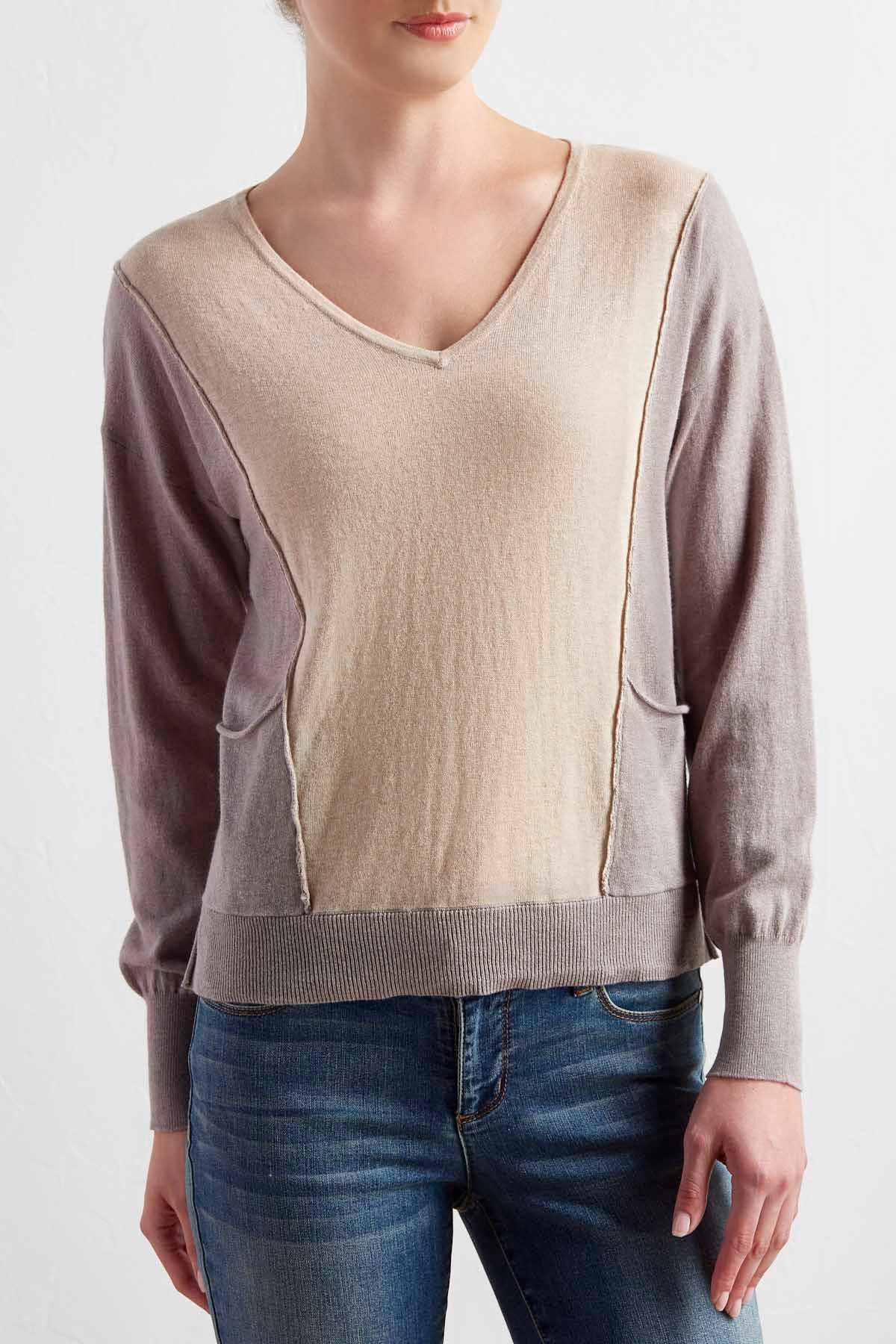 Two- Tone High- Low Sweater