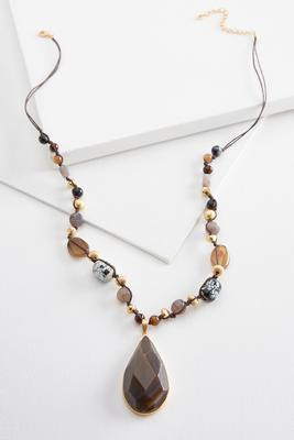 stone pendant beaded cord necklace