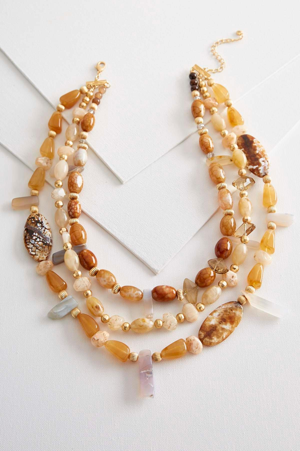 Semi- Precious Bead Layered Necklace