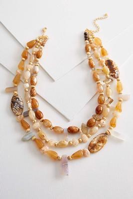 semi-precious bead layered necklace