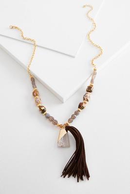 semi-precious tassel necklace