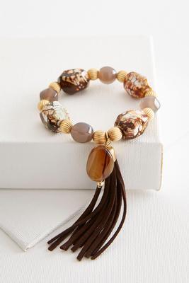 semi-precious tassel bracelet