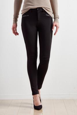 pintucked knee ponte leggings