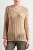 Open Waffle Knit Pullover Sweater
