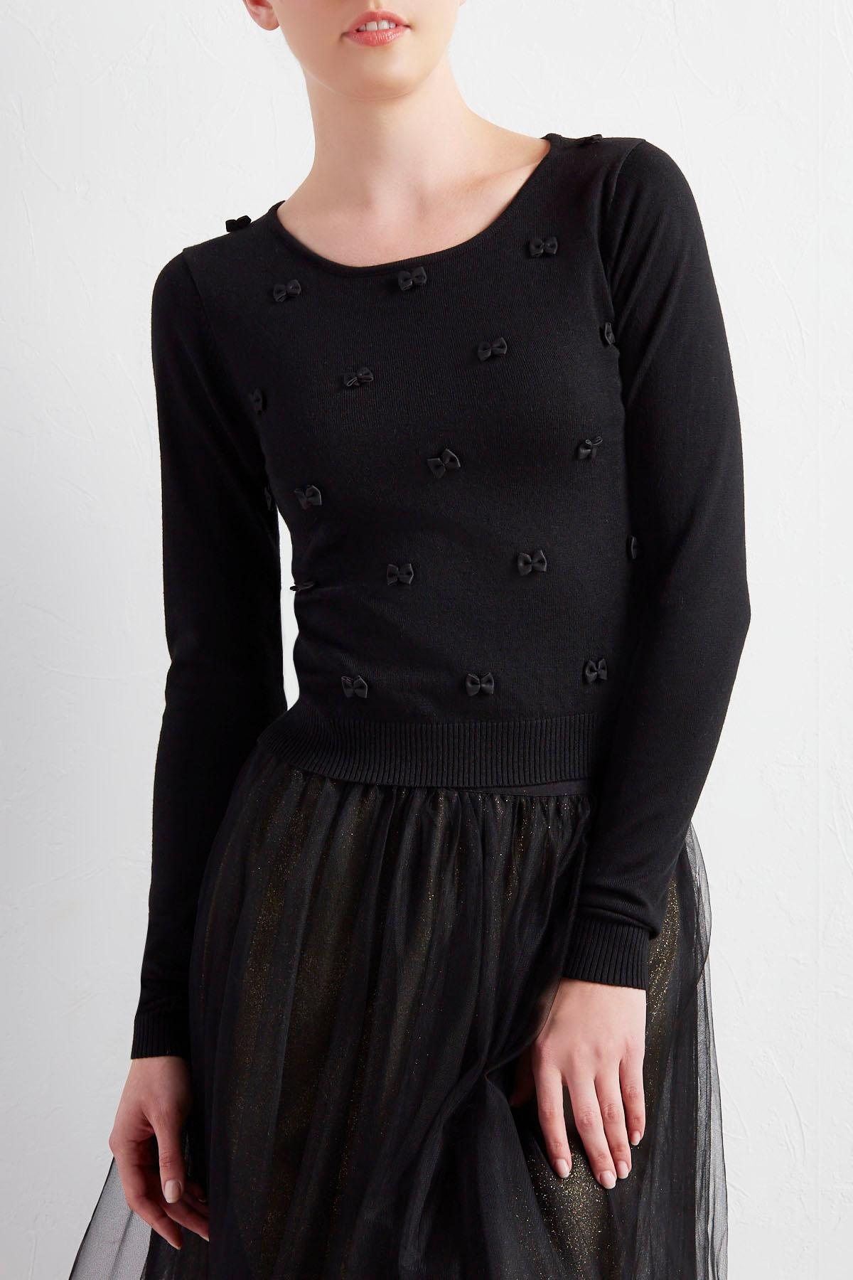 Faux Leather Bow Skimmer Sweater